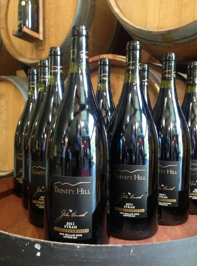 Premium wine selection on a tour stop at Trinity Hill wines Hawkes Bay, NZ