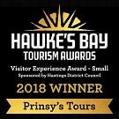 Hawkes Bay Tourism Award 2017 Winner - Visitor Experience for Small Business